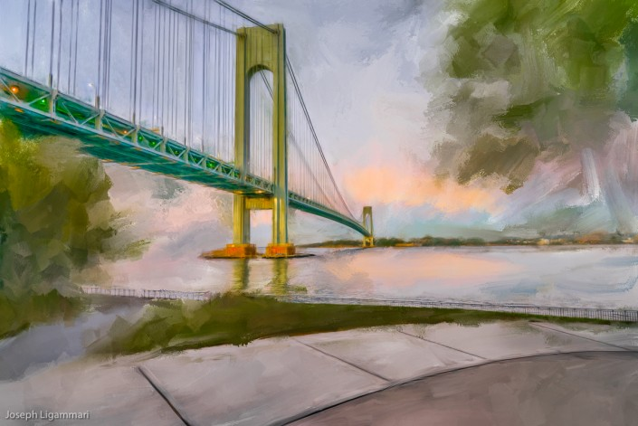 Painting Verrazano Bridge Sunrise